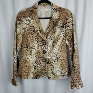 Coldwater Creek womens jacket size 8 brown leaves